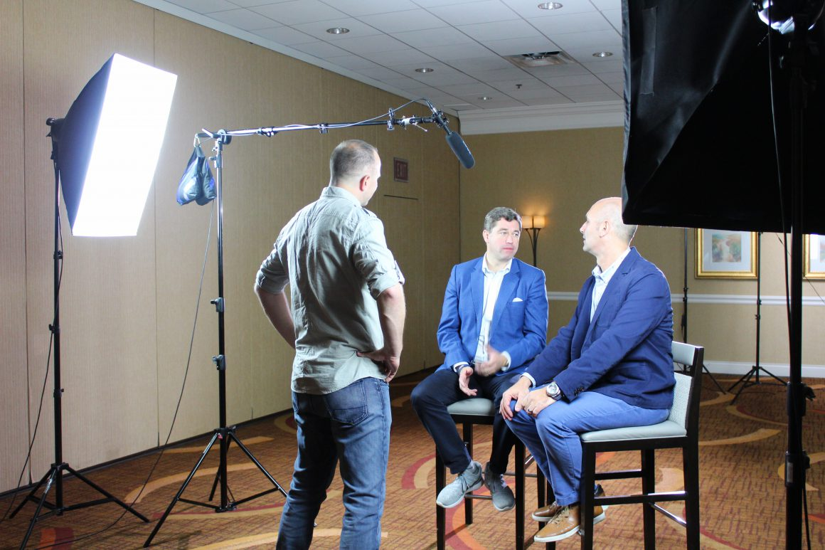 Here is a behind-the-scenes shot of our CEO Bob Dickie and Chairman of the Board, Tim Marks, making a video for Bonvera's New Way MBA!